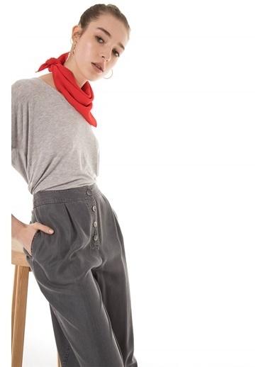Vivencia Eteği Püskül Detayı Tensel Kot Pantolon Gri